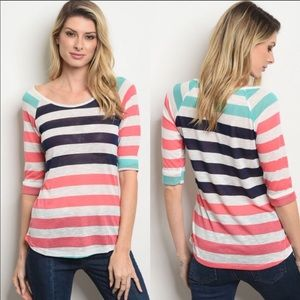 NWT Striped Scoop Neck 3/4 Sleeve